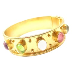 Elizabeth Locke Tutti Frutti Hammered Yellow Gold Bangle Bracelet