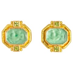 Elizabeth Locke Venetian Glass and Peridot Earrings