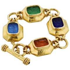 Elizabeth Locke Venetian Glass Animal Intaglio Yellow Gold Toggle Bracelet