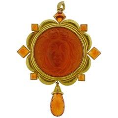 Elizabeth Locke Venetian Glass Cameo Citrine Pendant Brooch