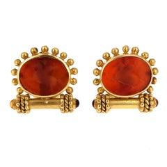 Elizabeth Locke Venetian Glass Intaglio and Gold Earrings