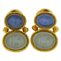 Elizabeth Locke Venetian Glass Intaglio Gold Earrings