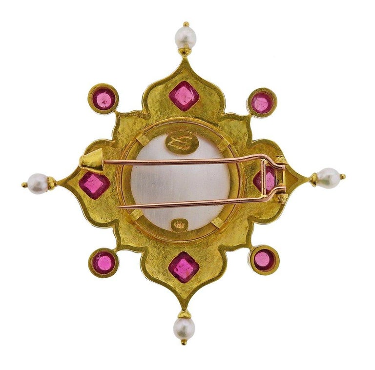 Elizabeth Locke Venetian Glass Intaglio Tourmaline Pearl Gold Brooch In Excellent Condition For Sale In Boca Raton, FL