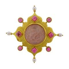 Elizabeth Locke Venetian Glass Intaglio Tourmaline Pearl Gold Brooch
