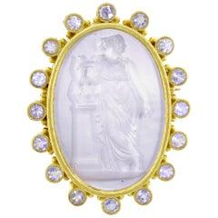 Elizabeth Locke Venetian Intaglio and Pearl Pendant Brooch