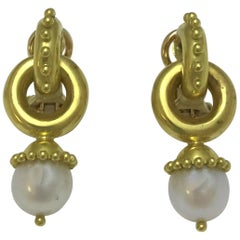 Elizabeth Locke White Pearl Drop Earring in 19 Karat Gold