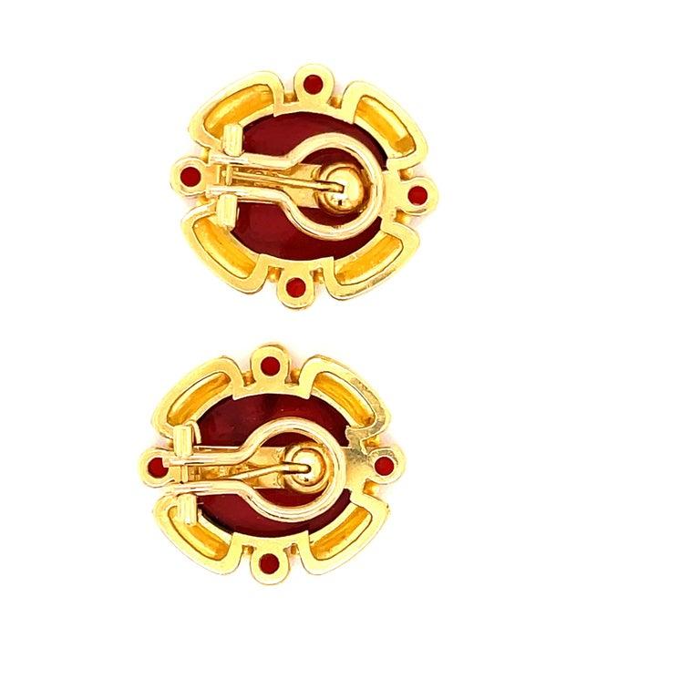 19 K Yellow Gold Elizabeth Locke Carnelian Intaglio Earrings.  Clip Post.   Stamped 19K E. Locke 1 inch by .75 inches