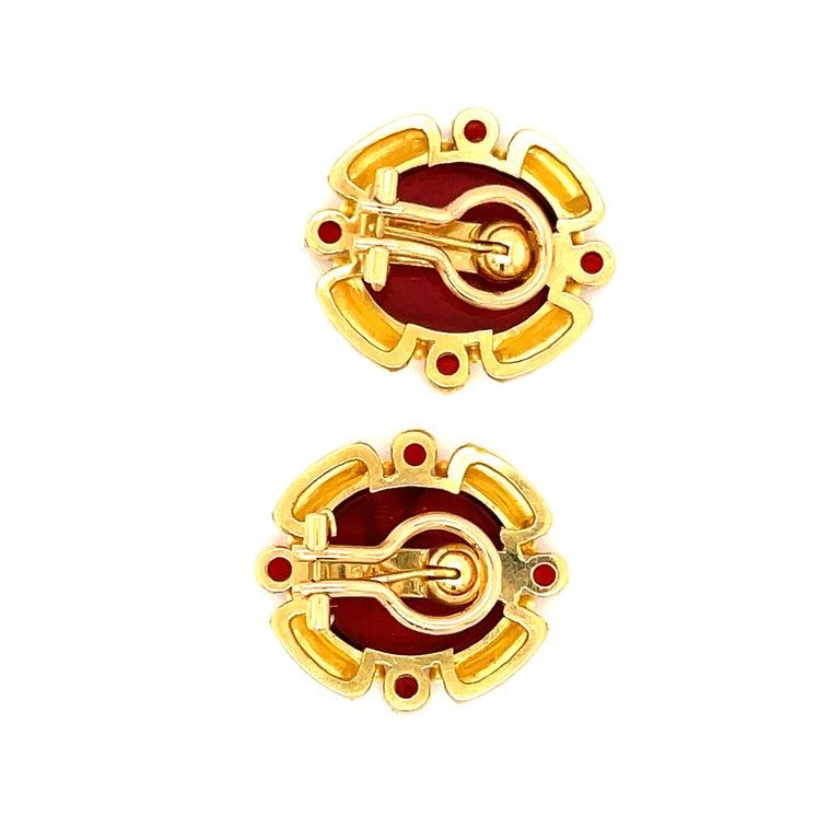 Modern Elizabeth Locke Yellow Gold Carnelian Intagiio Earrings For Sale