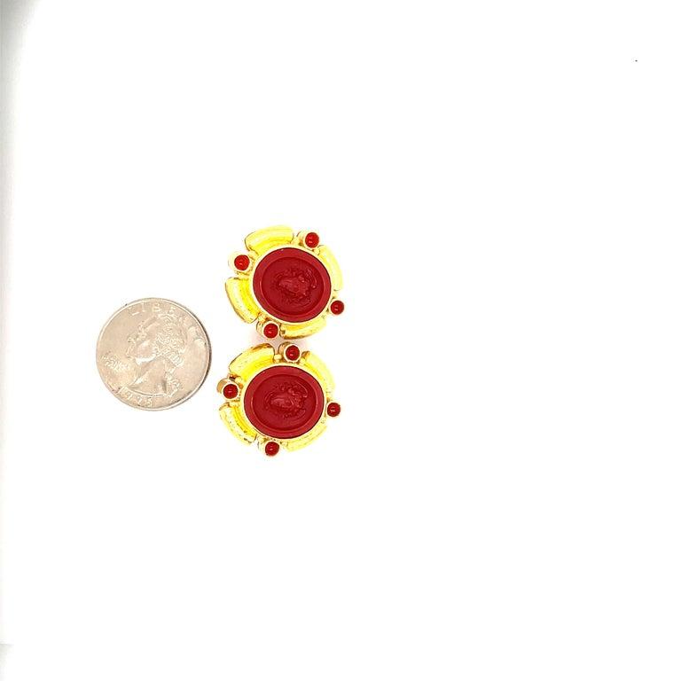 Oval Cut Elizabeth Locke Yellow Gold Carnelian Intagiio Earrings For Sale