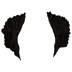 Elizabeth Mason Couture Black Silk Ruffle Bolero