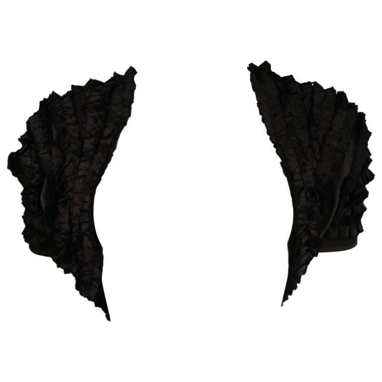 Elizabeth Mason Couture Black Silk Ruffle Bolero For Sale