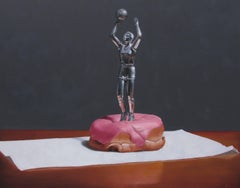 Dunkin', Contemporary Still Life, Oil Painting, Basketball, Doughnut, Trophy