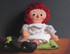 On the Rag, Contemporary Still Life, Oil Painting, Raggedy Ann Doll, Red, Green