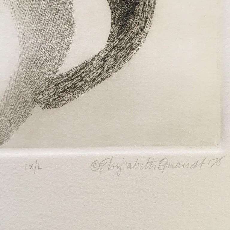 Elizabeth Quandt 'Aries III' Limited Edition, Signed Etching of Ram's Head - Gray Still-Life Print by Elizabeth Quandt