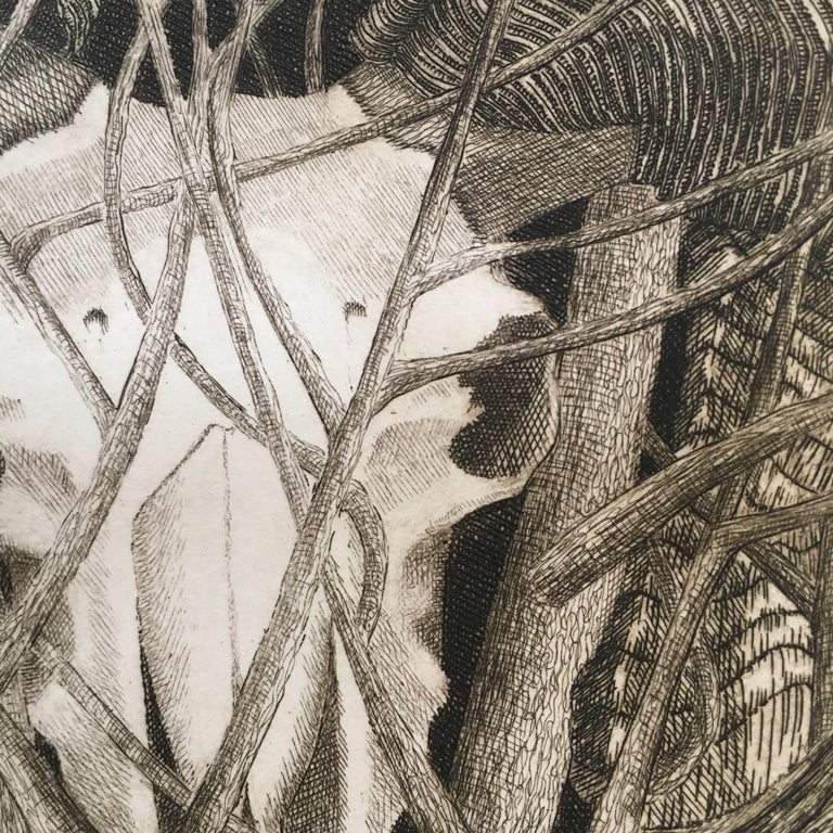 Elizabeth Quandt (1922 - 1994) Aries IV: Ram in a Thicket, 1978 Etching on Arches paper Singed and dated in pencil, lower right Edition IX/L (9/50) With artist's embossed stamp to lower center Image 5 1/4in H x 5in L: Sheet 22 1/4in H x 18in L.