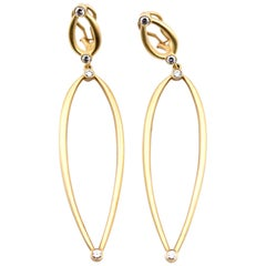 Elizabeth Rand 18 Karat Yellow Gold Diamond Drop Earrings