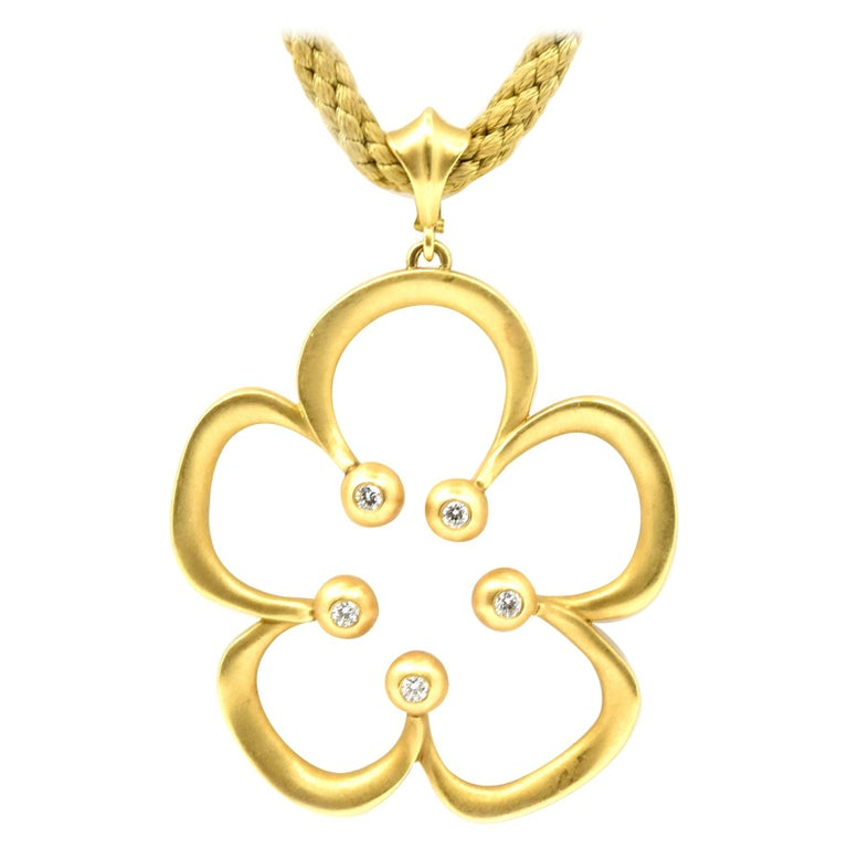 Elizabeth Rand Diamond Flower Necklace For Sale
