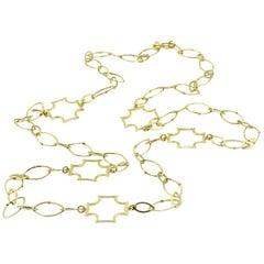 Elizabeth Showers Maltese Cross Handmade Necklace 18 Karat Yellow Gold