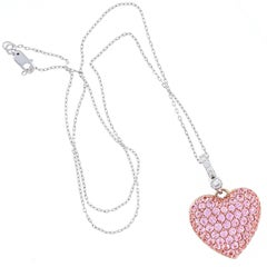 Elizabeth Taylor Designer Collection Diamond Pink Sapphire Heart Shape Pendant