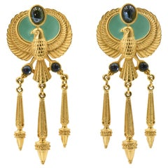 Elizabeth Taylor Egyptian Revival Cleopatra Gold Plated Clip on Earrings by Avon