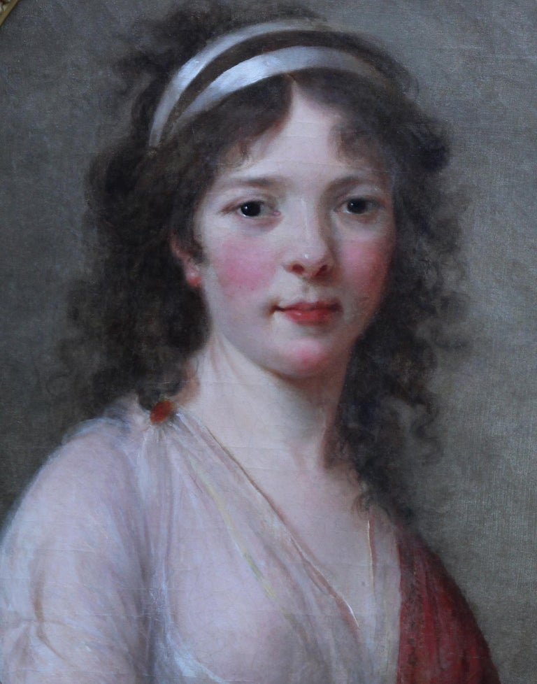 Portrait of a Lady - French Old Master oval oil painting 18th century art - Old Masters Painting by Elizabeth Vigee Le Brun (circle)