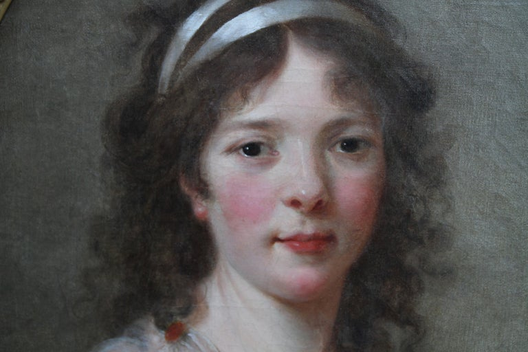 Portrait of a Lady - French Old Master oval oil painting 18th century art - Gray Portrait Painting by Elizabeth Vigee Le Brun (circle)