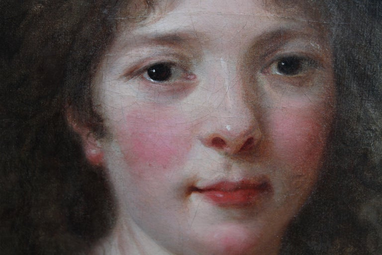 Portrait of a Lady - French Old Master oval oil painting 18th century art For Sale 1