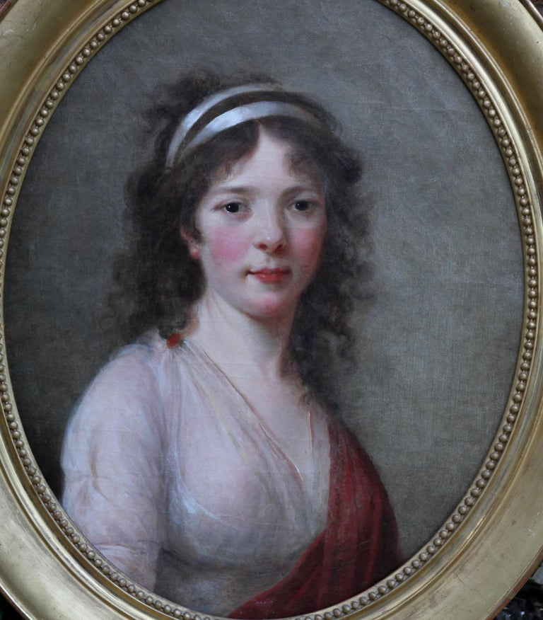 Portrait of a Lady - French Old Master oval oil painting 18th century art For Sale 2