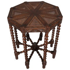 Elizabethan Carved Oak and Cane Barley Twist Octagonal Lamp Stand, circa 1850