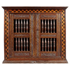 Elizabethan Inlaid Oak Mural / Wall or Glass Cupboard, circa 1590-1600