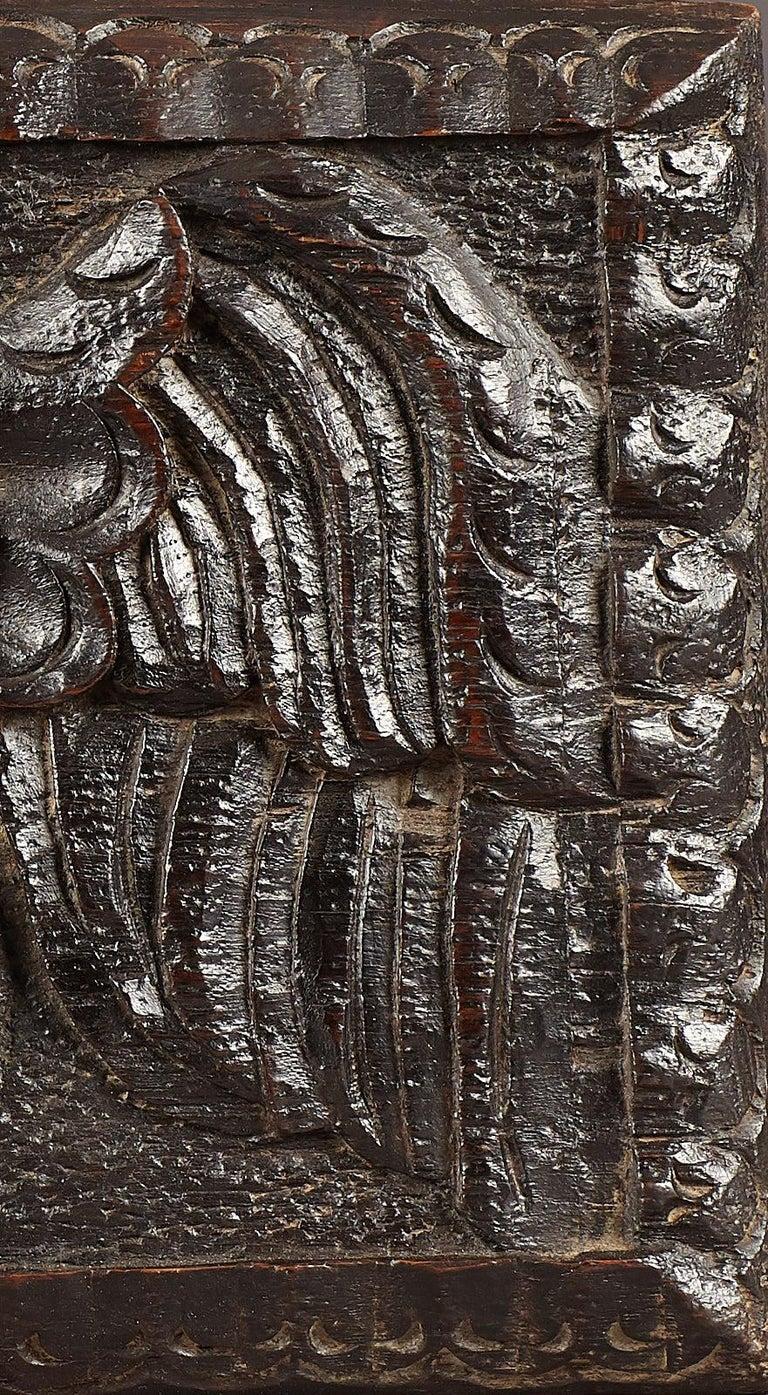 Carved Elizabethan Oak Angel Panel, English, circa 1580-1600 For Sale