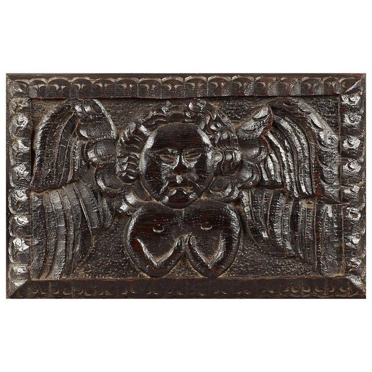 Elizabethan Oak Angel Panel, English, circa 1580-1600 For Sale