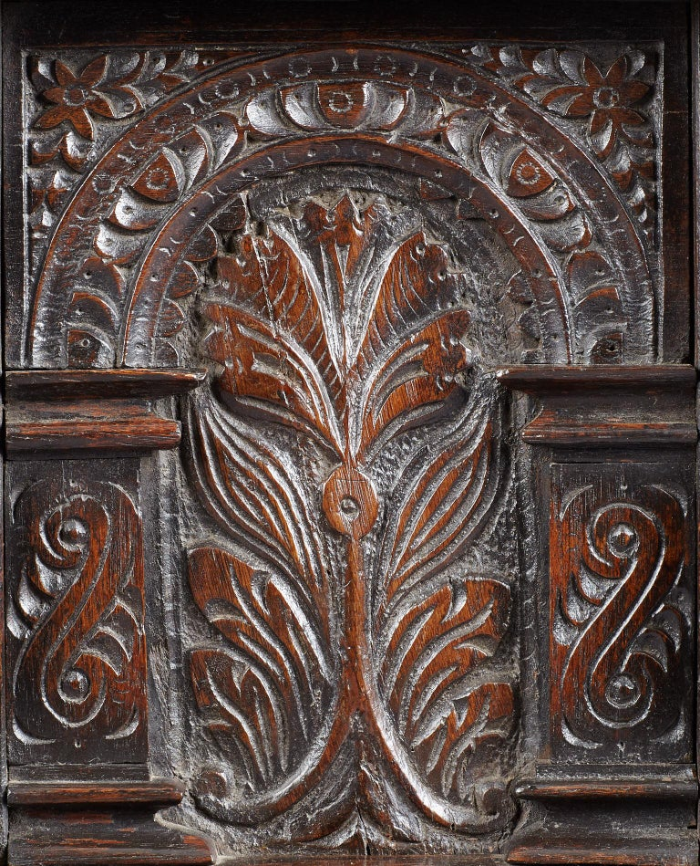 18th Century and Earlier Elizabethan Oak Chest, Somerset, England, circa 1600 For Sale