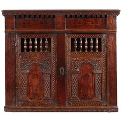 Elizabethan Pine, Oak, and Pen-Work Decorated Wall Glass Cupboard, circa 1580