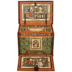 Elizabethan Polychrome Painted Marriage Cabinet, German, circa 1580-1600