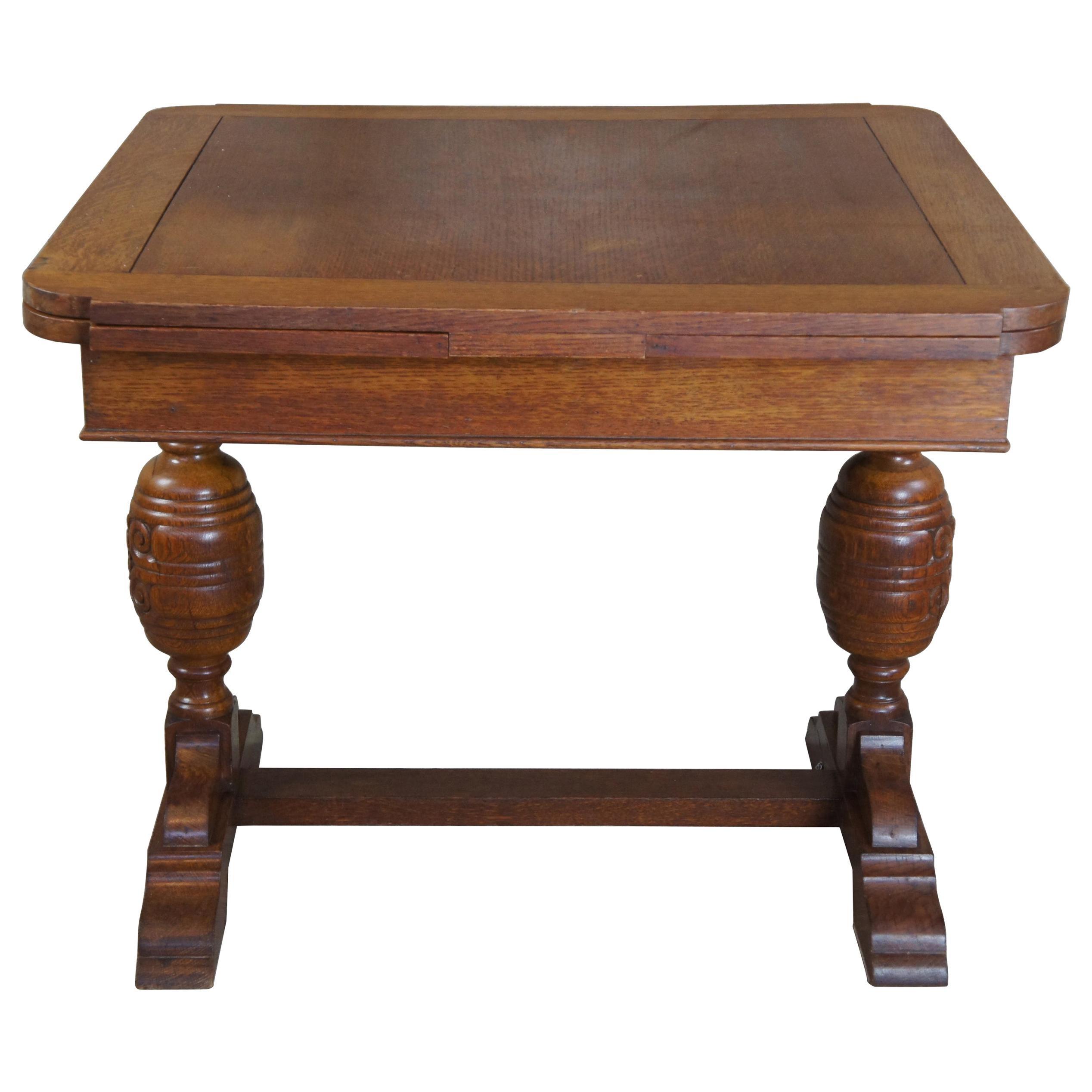 Elizabethan Style English Oak Draw Leaf Refectory Dining Table Library Desk