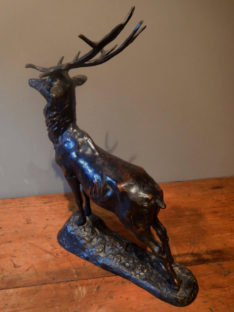 Elk Adirondack Lodge Table-Top Sculpture in Heavy Zinc Alloy, Mid-20th Century In Good Condition For Sale In Quechee, VT