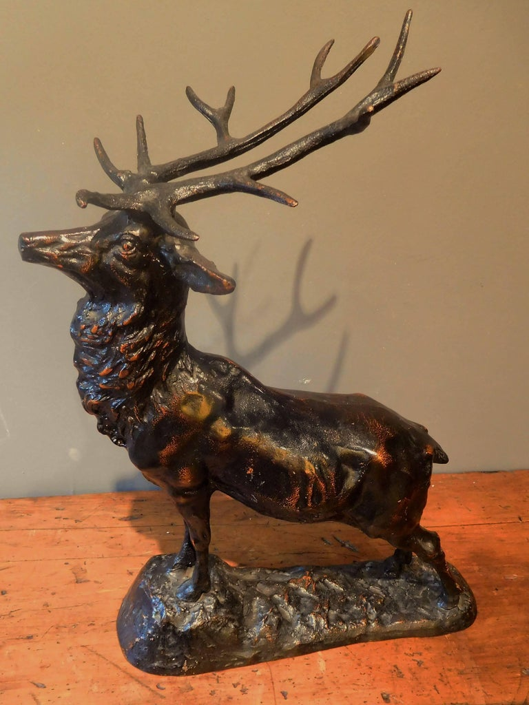 Elk Adirondack Lodge Table-Top Sculpture in Heavy Zinc Alloy, Mid-20th Century For Sale 1