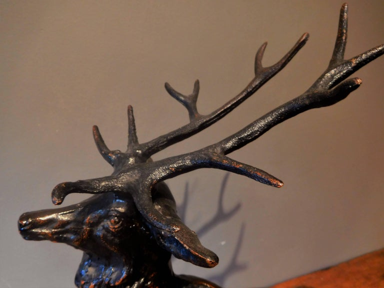 Elk Adirondack Lodge Table-Top Sculpture in Heavy Zinc Alloy, Mid-20th Century For Sale 3
