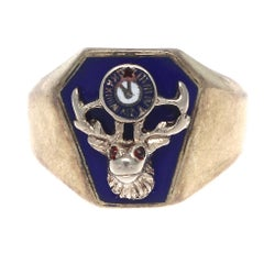 Elk Enamel Ruby Gold Signet Ring