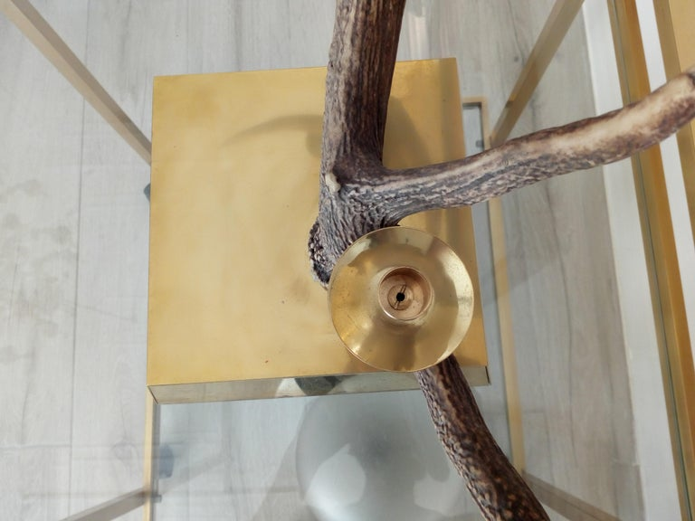 Elk Horn Three-Light Candleholder, Italy In Excellent Condition For Sale In Naples, IT