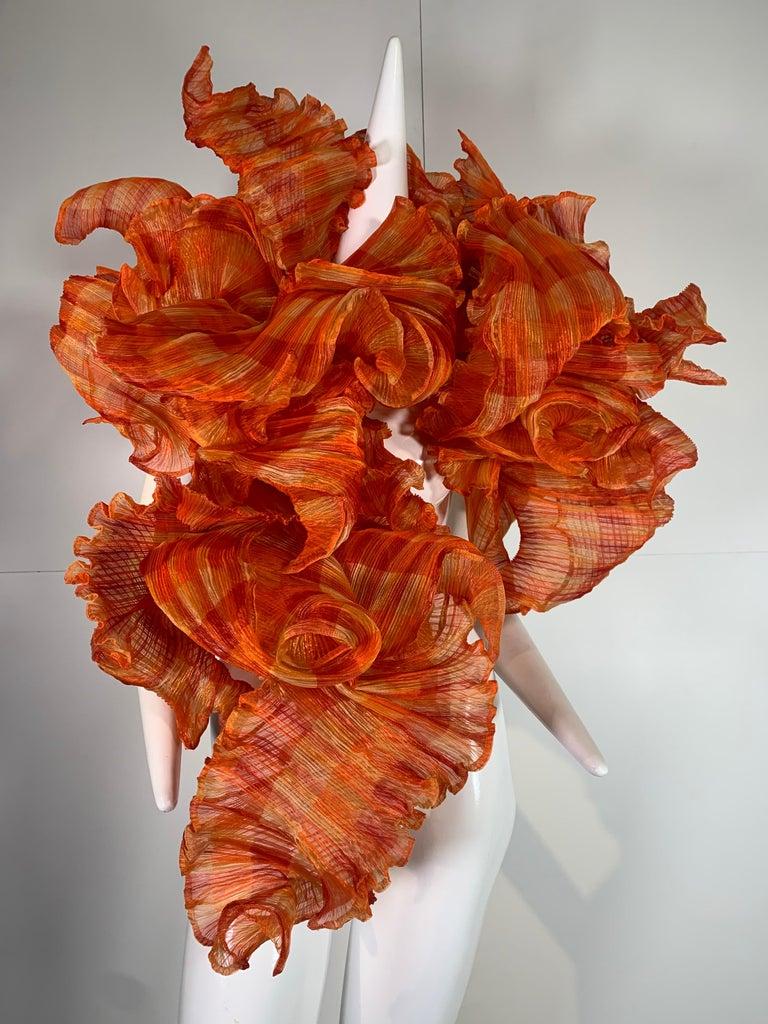 Red Elke Walter Pleated Flaming Avant Garde Wrap Boa / Bolero For Sale