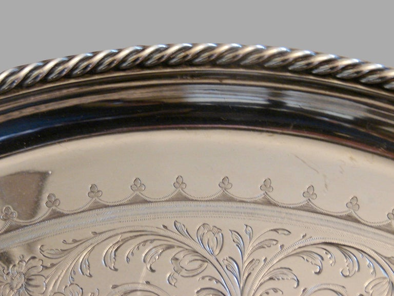 Victorian Elkington & Company Engine-Turned Silver-plate Tray Made in 1849 For Sale