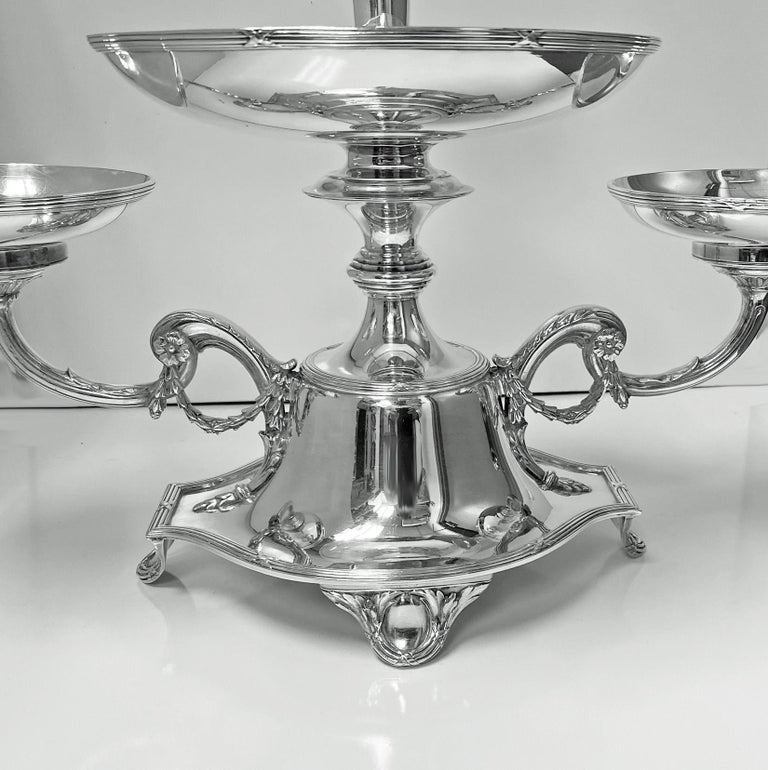 English Elkington Silver Plate Centerpiece Epergne for Fruit and Flowers, 1925 For Sale