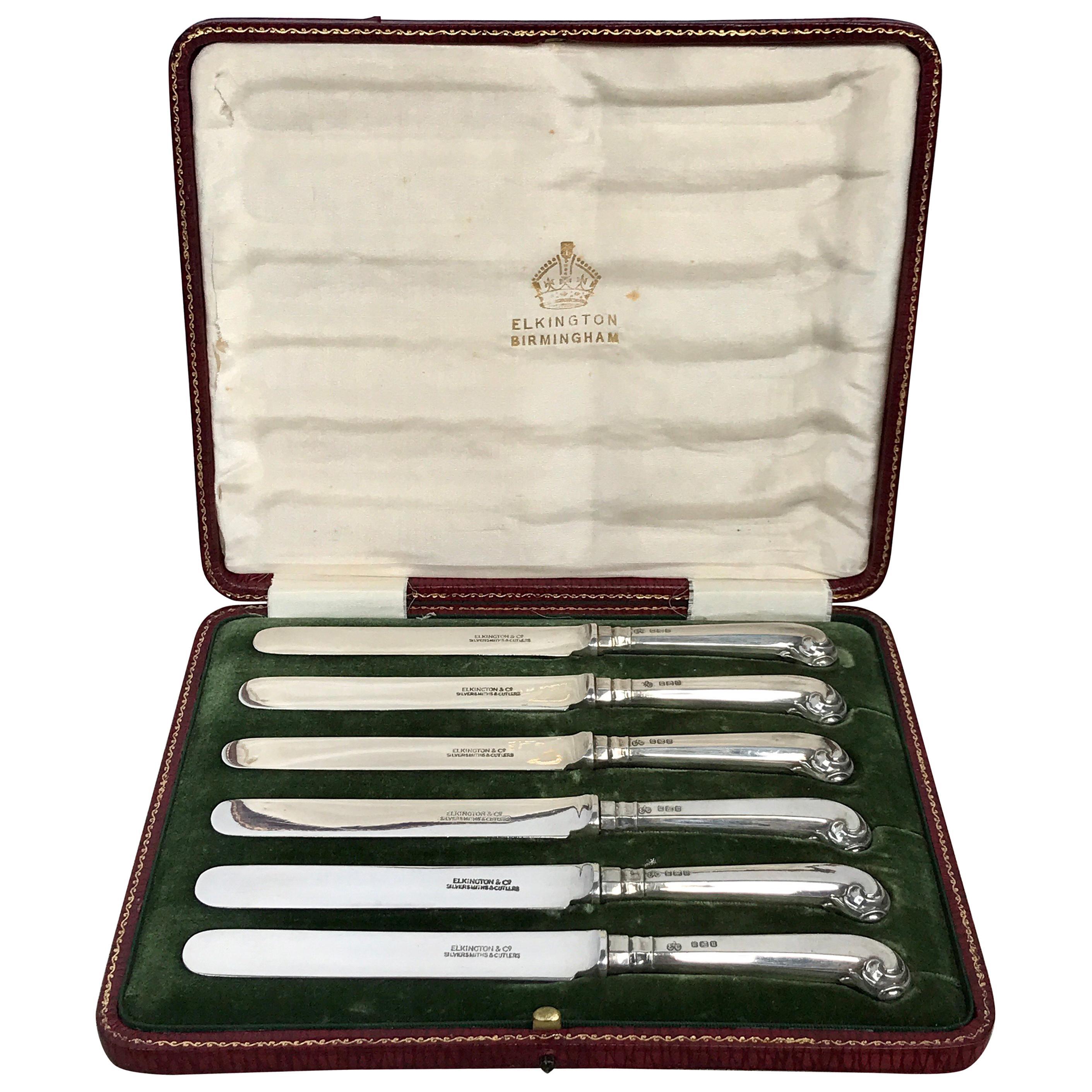 Elkington Sterling Pistol Handled Dessert Knives, with Original Box
