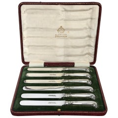 Elkington Sterling Pistol Handled Dessert Knives, with Original Box