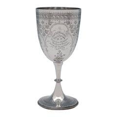 Elkington Sterling Silver Goblet with Original Presentation Inscription