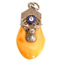 Elks Lodge BPOE Order of Elks Tooth Fob 10 Karat White Gold Rubies and Enameling