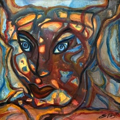 Untitled - Contemporary Oil Painting, Abstraction, Face, Colorful