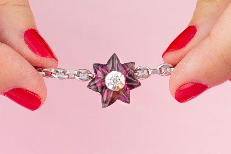 Women's or Men's Ella Gafter 17mm Pearl Diamond Flower Necklace For Sale